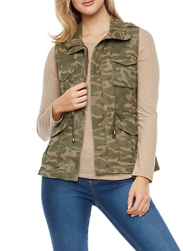 Twill Camouflage Vest,OLIVE,large