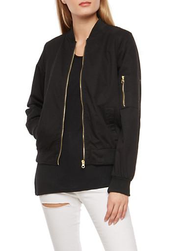 Twill Flight Jacket with Ribbed Knit Trim,BLACK,large