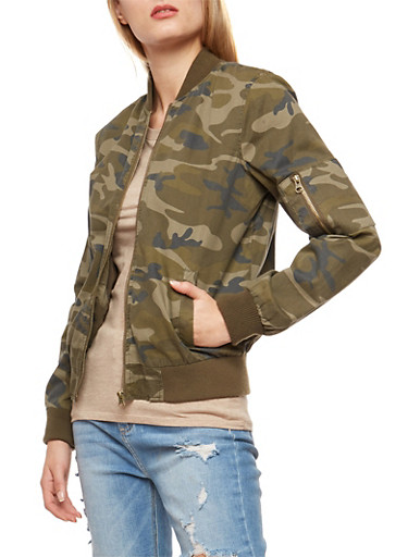 Camouflage Twill Flight Jacket,TAN,large