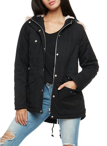 Faux Fur Trim Twill Anorak Jacket,BLACK,large