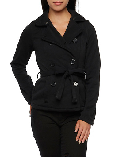 Belted Fleece Peacoat with Removable Hood,BLACK,large