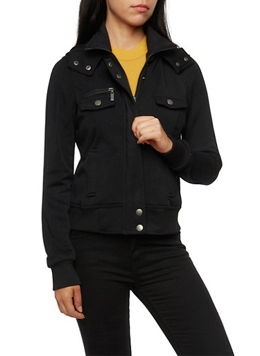 Fleece Jacket with Hood and Ribbed Trim,BLACK,large