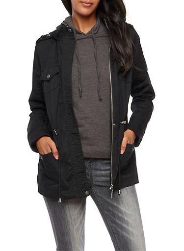 Solid Hooded Zip Up Anorak Jacket,BLACK,large