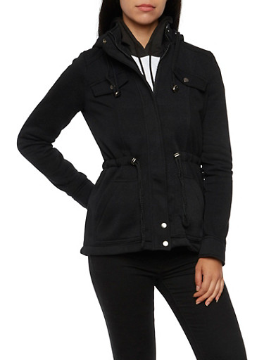 Fleece Jacket with Drawstring Waist,BLACK,large