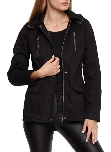 Zip Up Button Twill Anorak,BLACK,large