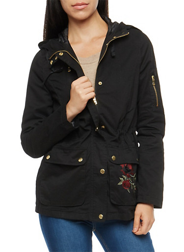Embroidered Twill Anorak Jacket,BLACK,large