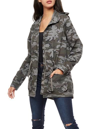 Camo Twill Anorak Jacket,GRAY,large