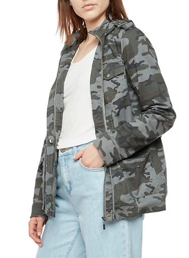 Camo Print Anorak Jacket,GRAY,large