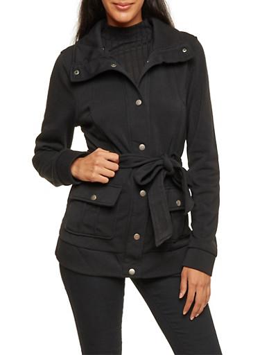 Fleece Jacket with Belt,BLACK,large