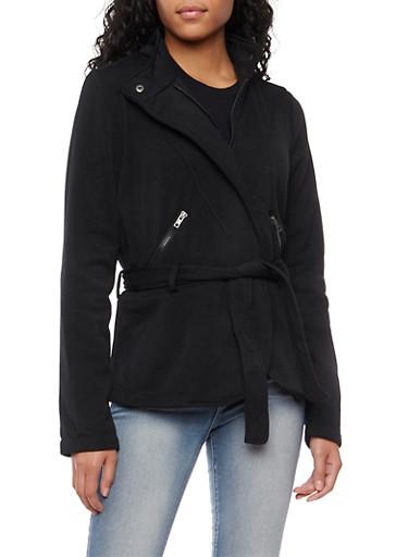 Fleece Belted Jacket with Flared Hem,BLACK,large
