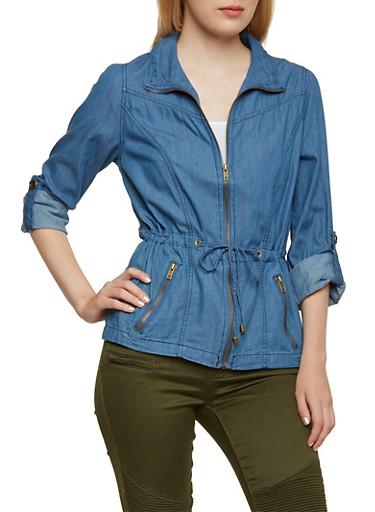 Zip-Up Lightweight Denim Jacket with Drawstring Waist,LIGHT WASH,large