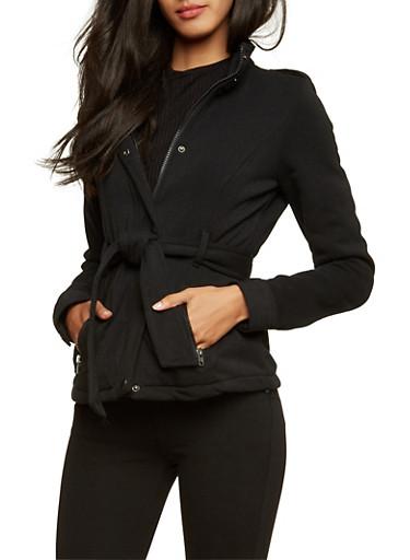 Belted Fleece Jacket,BLACK,large