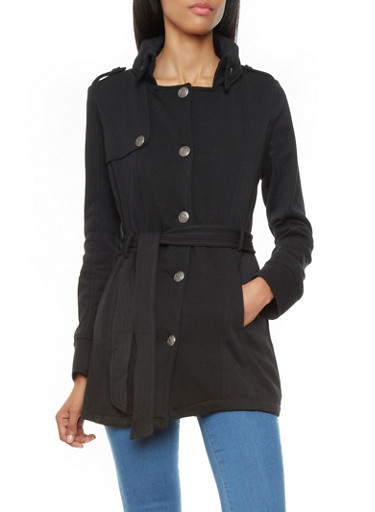Belted Coat with Metallic Button Front,BLACK,large