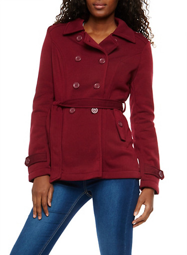 Burgundy Belted Fleece Peacoat,BURGUNDY,large