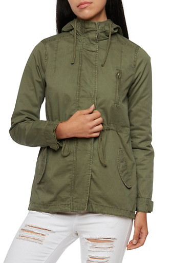 Hooded Twill Anorak Jacket with Drawstring Waist,OLIVE,large