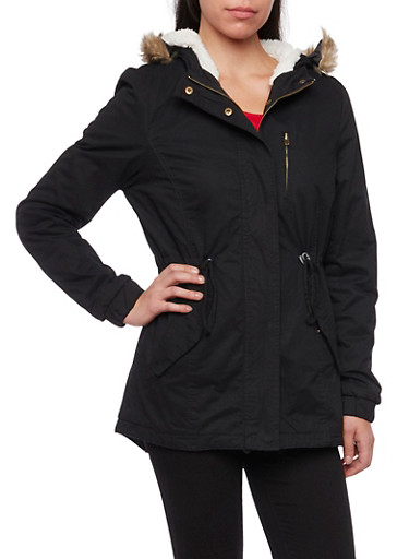 Hooded Coat with Fur Lining,BLACK,large