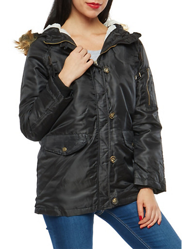 Zip Front Hooded Jacket with Button Detail,BLACK,large