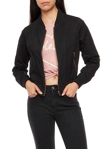 Twill Zip Bomber Jacket,BLACK,large
