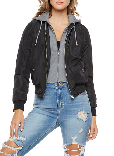 Layered Bomber Jacket with Hood,BLACK,large