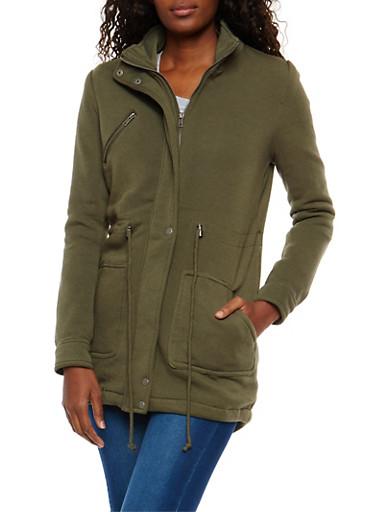 Fleece Anorak Jacket,OLIVE,large