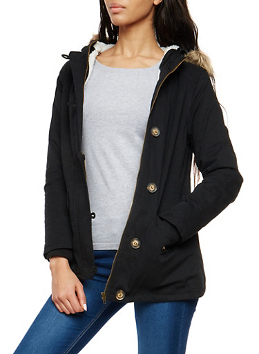 Sherpa Lined Twill Anorak Jacket,BLACK,large