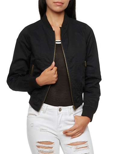 Twill Bomber Jacket,BLACK,large