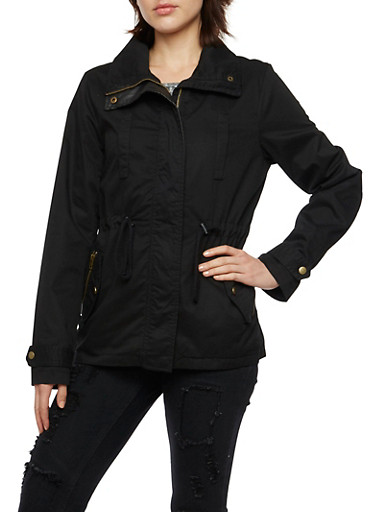 Utility Jacket with Drawstring Cinch at Waist,BLACK,large