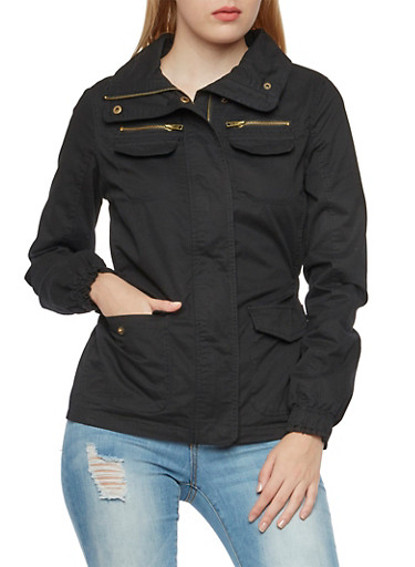 Twill Zip-Up Jacket with Four Pockets,BLACK,large