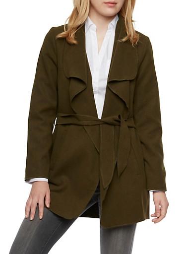 Oversized Draped Shawl Collar Jacket with Belt,DARK OLIVE,large