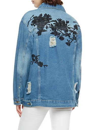 Embroidered Destroyed Denim Jacket,LIGHT WASH,large
