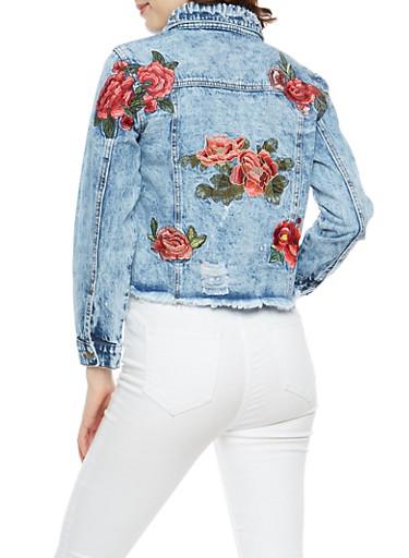 Rose Embroidered Frayed Denim Jacket,DENIM,large
