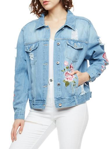 Rose Embroidered Denim Jacket,LIGHT WASH,large