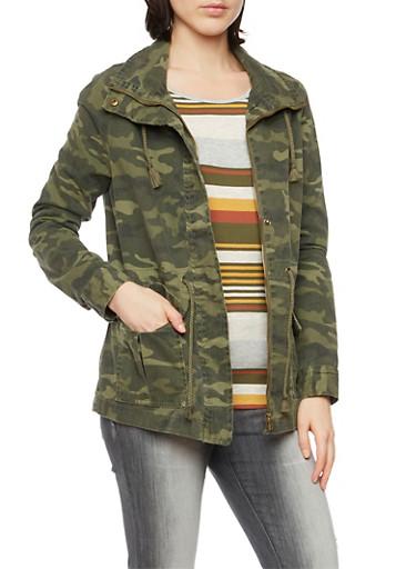 Camo Jacket with Drawstring Waist,OLIVE,large