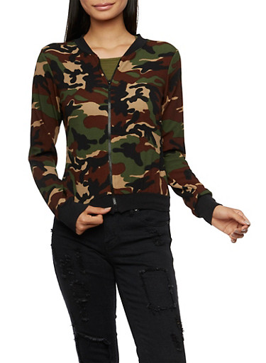 Knit Bomber Jacket in Camo Print,CAMO,large