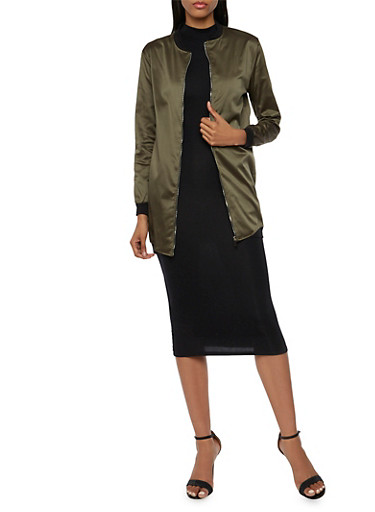 Bomber Jacket in Extended Length,OLIVE,large