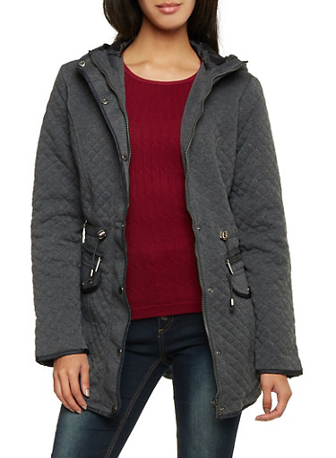 Quilted Jacket with Hood,CHARCOAL,large