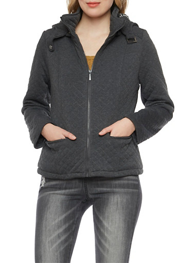 Quilted Jacket with Removable Hood,CHARCOAL,large