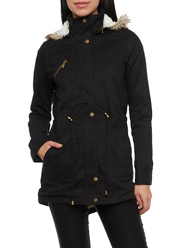 Hooded Jacket with Drawstring and Faux Fur Trim,BLACK,large