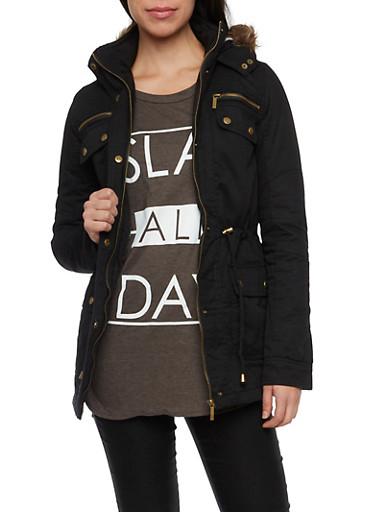 Drawstring Jacket with Faux Fur Trimmed Hood,BLACK,large