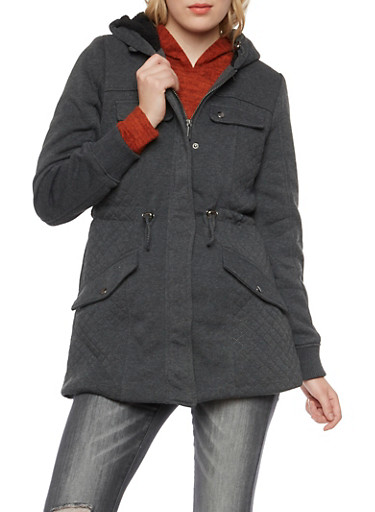 Quilted Panel Jacket with Sherpa Lining,CHARCOAL,large