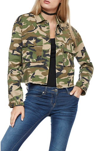 Camo Print Button Front Jacket,CAMOUFLAGE,large