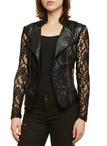 Faux Leather Jacket with Lace Paneling,BLACK,large