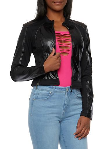 Faux Leather Paneled Jacket,BLACK,large