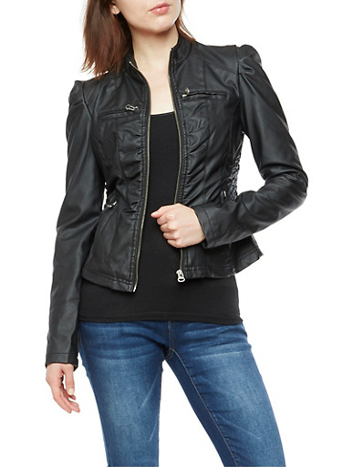 Faux Leather Ruched Trim Jacket,BLACK,large