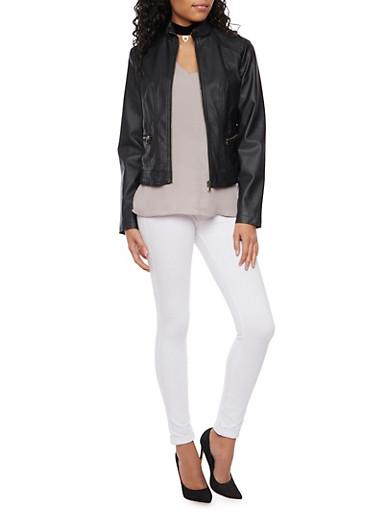 Faux Leather Biker Jacket,BLACK,large