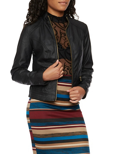Faux Leather Jacket with Quilted Shoulders,BLACK,large