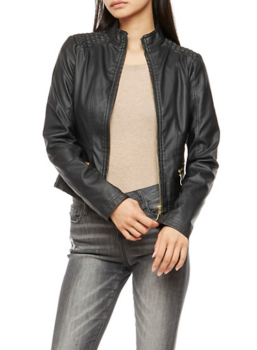 Faux Leather Zip Front Jacket,BLACK,large