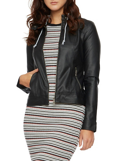 Faux Leather Jacket with Fleece Hood,BLACK,large