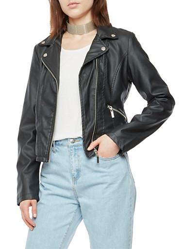 Faux Leather Zip Trim Moto Jacket,BLACK,large