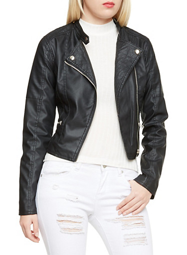 Faux Leather Moto Jacket with Stitched Panels,BLACK,large